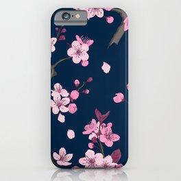 Watercolor Japanese sakura flowers paint on dark background vintage illustration pattern iPhone Case