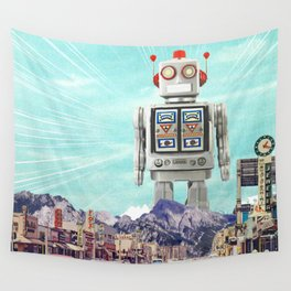 Robot in Town Wall Tapestry