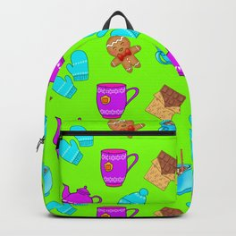 Lovely gingerbread men cookies, chocolate bars, hot cocoa, mittens, hats. Green winter pattern Backpack