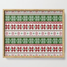 Green & Red Winter Fair Isle Serving Tray