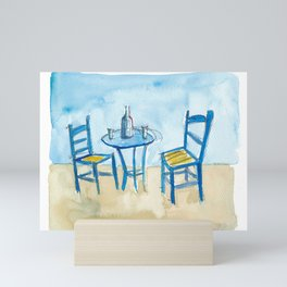 Blue Chairs Table, Sunset and Paradise Dreams Mini Art Print