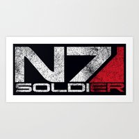 n7 Art Prints featuring N7 Solider by Draygin82