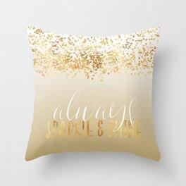 Gold Confetti Ombre Sparkle Throw Pillow