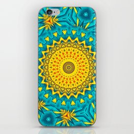 Birds of Paradise Circular Geometric Blended Floral Pattern \\ Yellow Green Blue Teal Color Scheme iPhone Skin