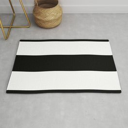 Black Rugby Stripes Rug