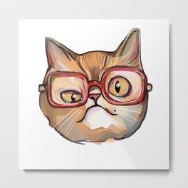 Nerd and geek cat in glasses Metal Print