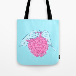 Knitting a brain Tote Bag