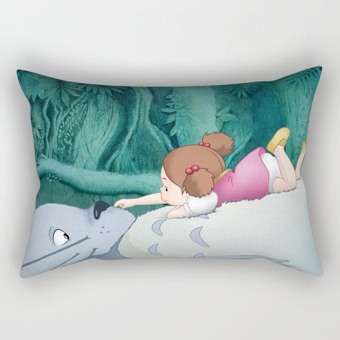 Mei on Totoro's Fluffy Tummy Rectangular Pillow