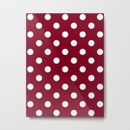 Polka Dots - White on Burgundy Red Metal Print