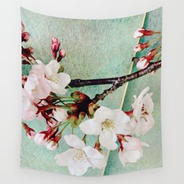 """Cherry blossoms on """"Wa-shi""""  -桜に和紙 Wall Tapestry"""