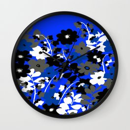 SUNFLOWER TRELLIS BLUE BLACK GRAY AND WHITE TOILE Wall Clock