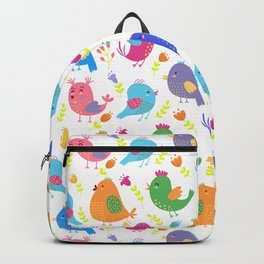 Cute colorful little birds illustration pattern Backpack