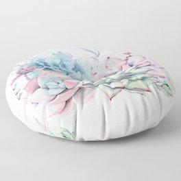 Pretty Pastel Succulents Floor Pillow
