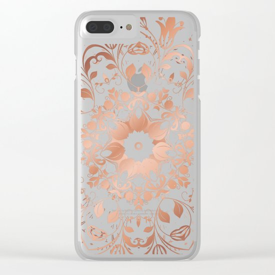 Rose Gold Floral Mandala On Black Clear iPhone Case