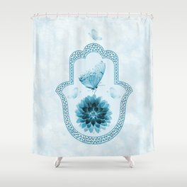 Butterfly Lotus Blue Hamsa Hand Shower Curtain
