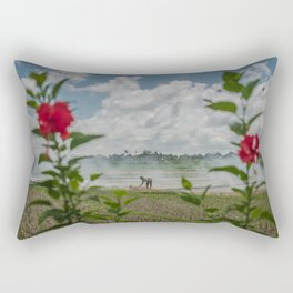 Toil Framed With Flowers Rectangular Pillow