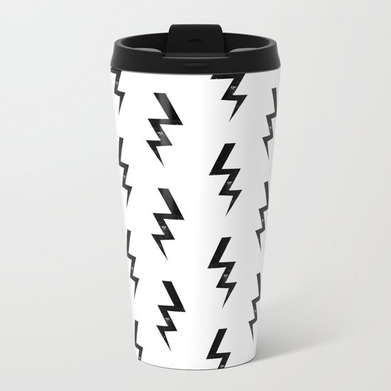 Bolts lightning bolt pattern black and white minimal cute patterned gifts Metal Travel Mug