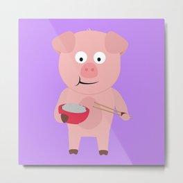 Kawaii Pig eating rice Metal Print