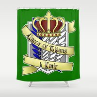 teen titans Shower Curtains featuring Queen of Titans Ymir by Beasty