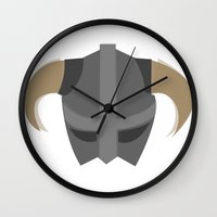 skyrim Wall Clocks featuring The Saviour of Skyrim by E_Nicholson