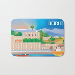 Beirut, Lebanon - Skyline Illustration by Loose Petals Bath Mat