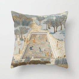 Swimmers In the Spring Breeze Throw Pillow
