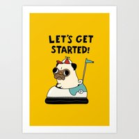 pug Art Prints featuring PUG! by Jarvis Glasses