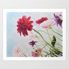Wildflowers against the sky_Oil on canvas Art Print