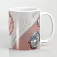 vw bus Mugs featuring Old Timer VW Bus  by wildVWflower