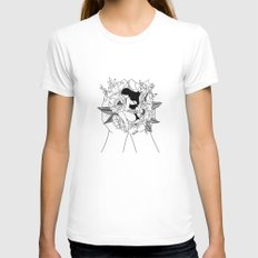 Natural Woman MEDIUM White Womens Fitted Tee