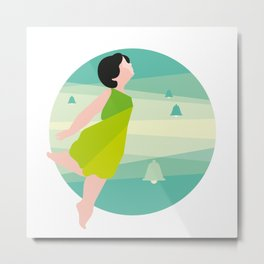 Spring, girl in a green dress and bells Metal Print