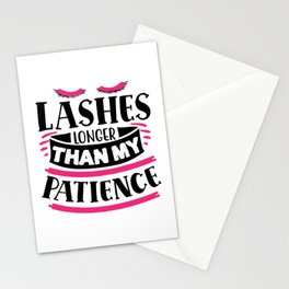 Lashes Longer Than My Patience Funny Quote Stationery Cards