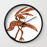 greg guillemin Wall Clocks featuring Rain Dancer by Greg Phillips by SquirrelSix