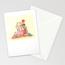 Cups, candy and a cat Stationery Cards
