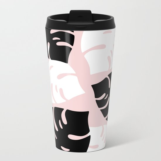 Palm Leaves on Pink Metal Travel Mug