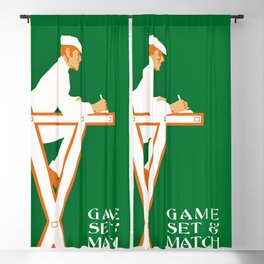 Game set and match retro tennis referee Blackout Curtain