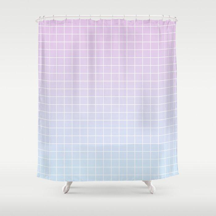 Gradient Grid Shower Curtain