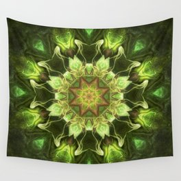 Planet Tree - Green Fractal Mandala - Manafold Art Wall Tapestry