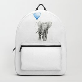 Baby Animal Elephant Watercolor Blue Balloon Baby Boy Nursery Room Decor Backpack