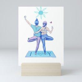 Yogi Love cold colours Mini Art Print