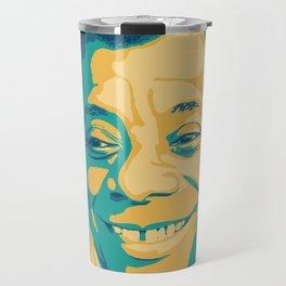 James Baldwin Portrait Teal Gold Blue Travel Mug