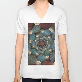 Graphic Design, Modern Fractal Art Pattern Unisex V-Neck