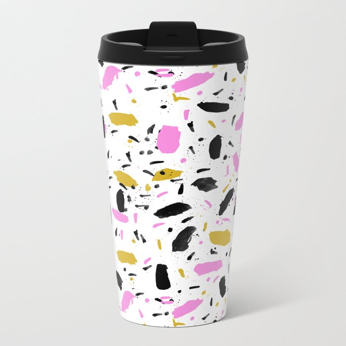 Terrazo cute pink black and white gender neutral modern abstract pattern painting painterly boho art Metal Travel Mug
