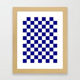 Checkered - White and Dark Blue Framed Art Print