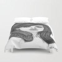 cassandra jean Duvet Covers featuring Jean Shrimpton by Paul Nelson-Esch Art