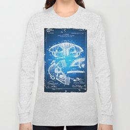 Football Shoulder Pads Paten Blueprint Drawing Blue Long Sleeve T-shirt