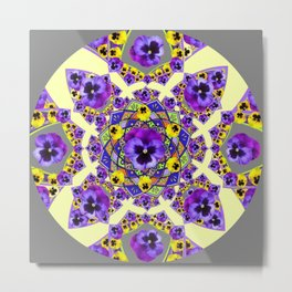MANDALA OF PURPLE & YELLOW PANSY GARDEN Metal Print