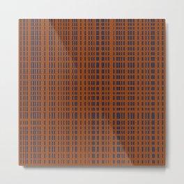 Dark Blue Dotted Lines on Rust Metal Print