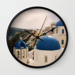 Blue domes of Oia Santorini Wall Clock