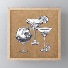Vintage Cocktails on Kraft Framed Mini Art Print
